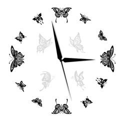 Butterfly, clock, vector, Illustration