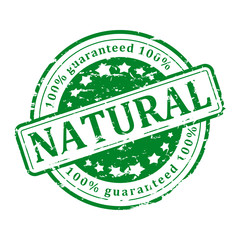 Damaged round green stamp with the words - natural - vector