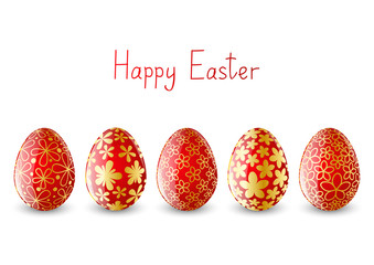 Set of red Easter eggs