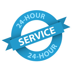 """24-HOUR SERVICE"" Stamp (opening hours customer support button)"