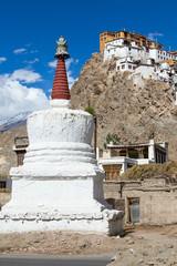 White stupa in Tiksey monastery. Ladakh, India.