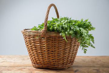 Parsley in basket