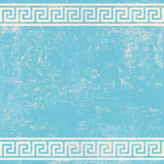 antique wall with greek ornament meander.vector background