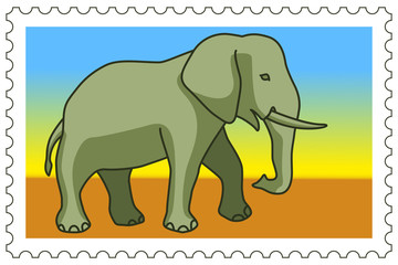 Elephant on stamp