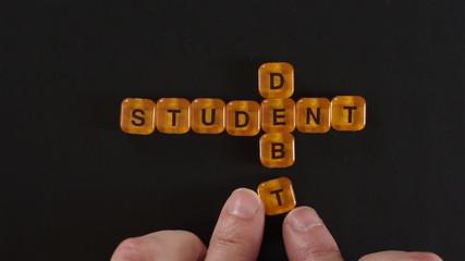Letter Blocks Spell Student Debt