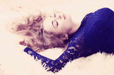 beautiful girl relaxing on the floor