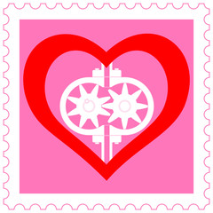 Heart pump on stamp