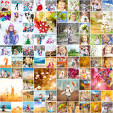 Fototapety family photos in the four seasons