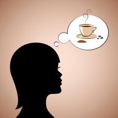 frau denkt an kaffee