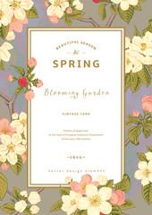 Vintage vector vertical spring card.