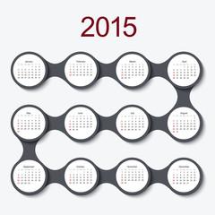 Vector modern circle 2015 calendar