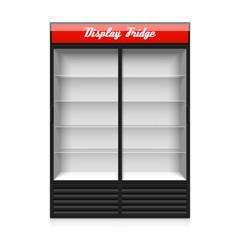 Upright double glass sliding door display fridge