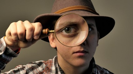 Explorer with Magnifying Glass