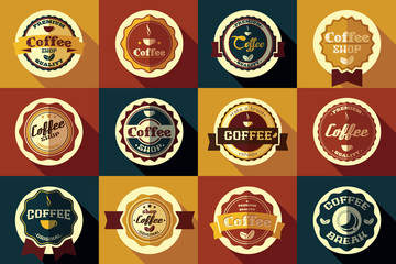 Collection of vintage retro coffee stickers, badges, ribbons