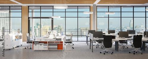 Leinwanddruck Bild büro mit panorama fassade - office panorama view
