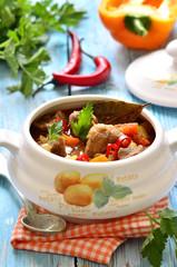 Traditional hungarian soup goulash.