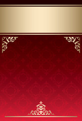 background with red gradient and golden decor - vector