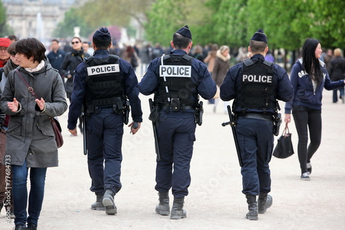 French police control the street, Paris - 77684733