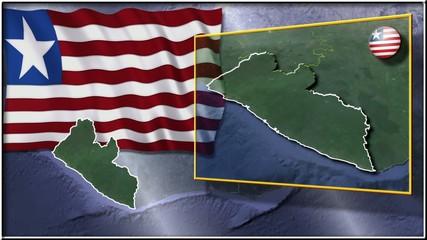 Liberia flag and map animation