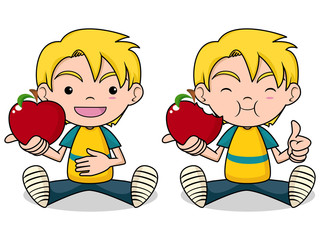 Child and red apple vector illustration