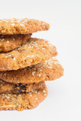 tower stack of cookies with sesame seeds