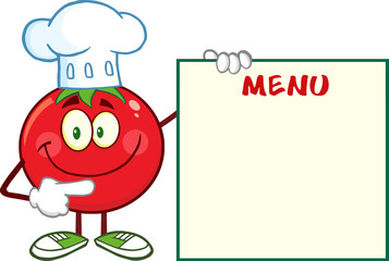 Smiling Tomato Chef Cartoon Character Pointing To Menu Board