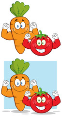 Carrot And Tomato Cartoon Characters Flexing. Collection Set