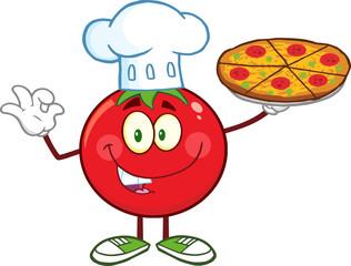 Tomato Chef Cartoon Mascot Character Holding A Pizza