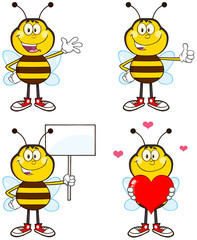 Bee Cartoon Different Interactive Poses 1. Collection Set