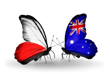 Two butterflies with flags Poland and Australia