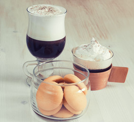 coffee with cream and ice cream and sweets