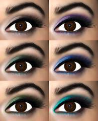 Brown eye makeup in eyeshadows that enhance the brown iris