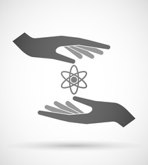 Hands protecting or giving an atom