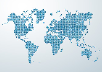 World map of rounded corner square blue varicolored
