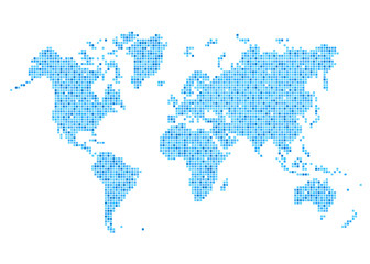 World map of rounded corner square blue