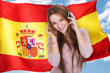 Woman Listening Spanish Learning Audiobook
