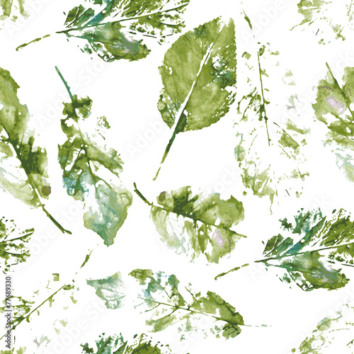 pattern from the of autumn leaves painted in watercolor - 77689330