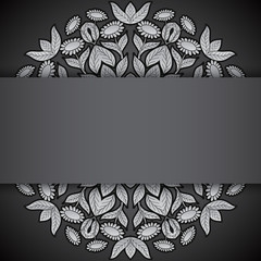Silver and black round sunflowers invitation