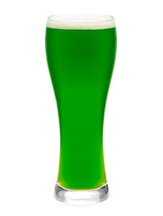 Glass of green beer isolated