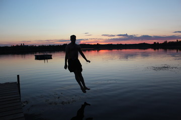Dock Jump at Sunset