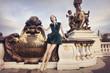 Beautiful woman waiting on Alexandre Bridge, Paris, France
