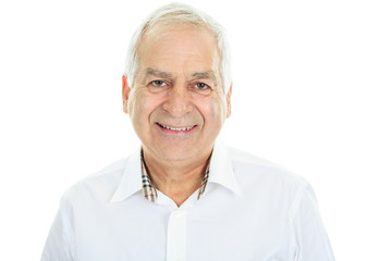 A Happy Mature Man in white background