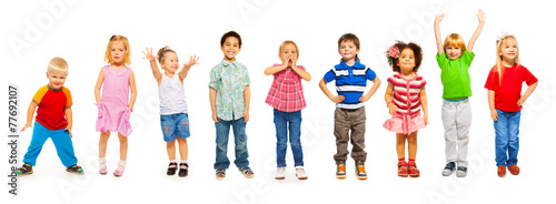 canvas print picture Combination of little kids standing isolated