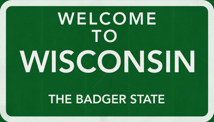 Welcome to Wisconsin USA Road Sign