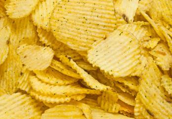 heap of tasty corrugated potato chips