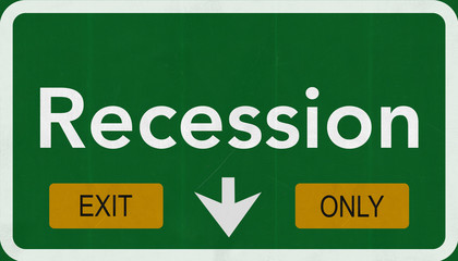 Recession Highway Road Sign Exit Only Concept