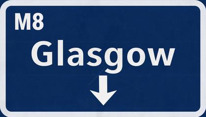 Glasgow United Kingdom Highway Road Sign