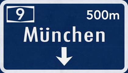 Germany München / Munchen / Munich Highway Sign