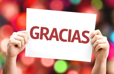 Thank You (in Spanish) card with colorful background