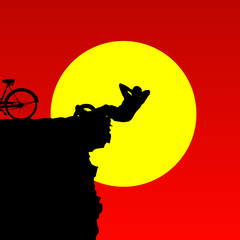 man on the cliff mountain color vector
